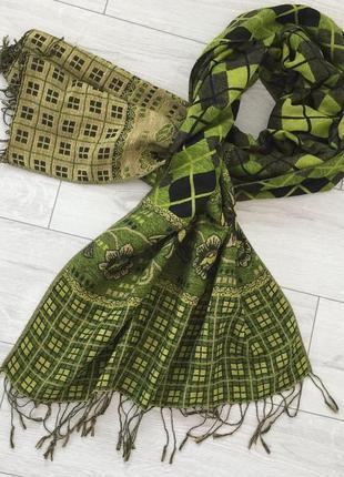 Шарф, зеленый шарф, зеленый платок, теплий шарф, зелений шарфик.