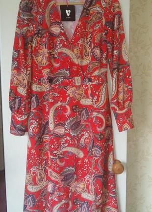 Платье легкая трапеция с длинным рукавом 12 р. By very