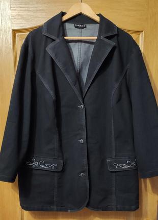 Черная стрейчевая джинсовая куртка, пиджак, джинсовка, р. 7xl