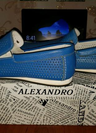 Мужские мокасины кожанные alexandro синие летние