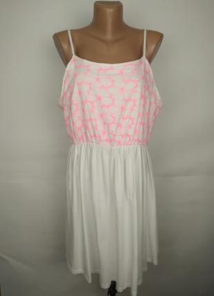 Платье хлопковое красивое белое летнее с вышивкой uk 14-16/42-...