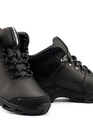 Мужские кроссовки кожаные зимние черные Shark B 211