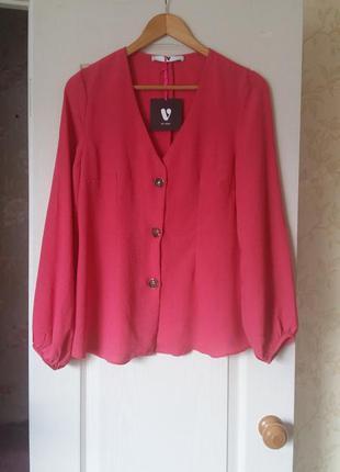 Блуза-жакет с длинным рукавом приталенного силуэта 14 р. By very