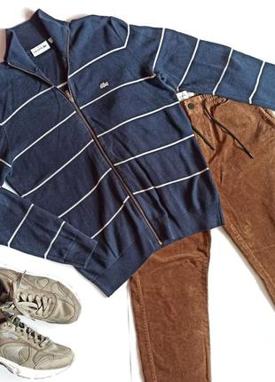 Lacoste легкая осенняя кофта джемпер синяя в полоску оригинал m