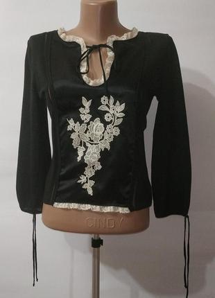 Блуза дизайнерская с дорогой вышивкой red valentino uk 10-12/m