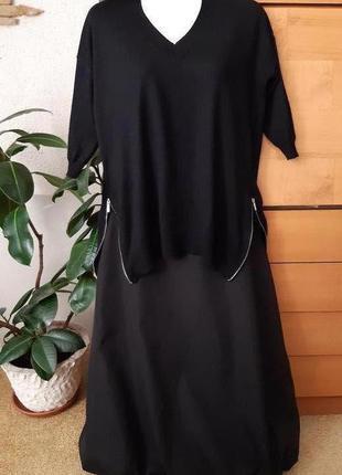 Черный свитер-джемпер с молниями, оверсайз