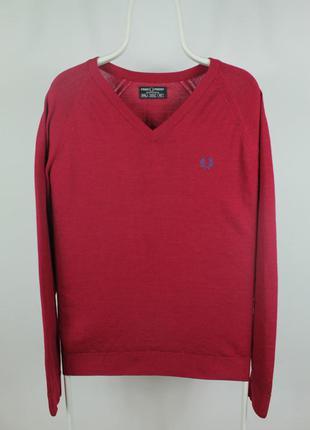 Шикарный оригинальный  свитер fred perry vintage v-neck wool s...