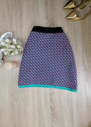 Модная осенняя плотная теплая короткая мини юбка zara розовая s m