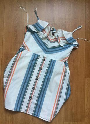 Льняное платье на бретельках f&f