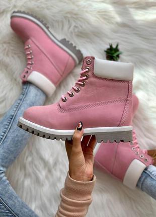 Шикарные женские ботинки timberland pink нубук