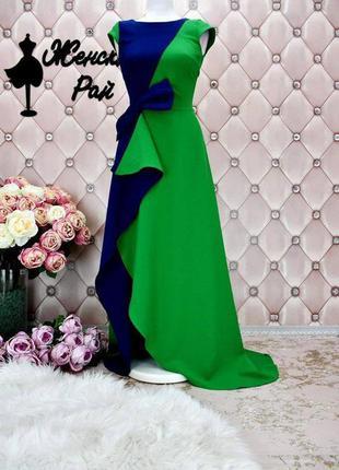 Нереальной красоты платье в пол с разрезом на ножке и воланами