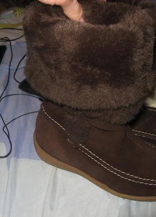 Ботинки сапоги замша и натуральный мех овца h&m размер 36 по с...