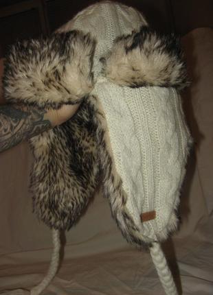 Шапка зимняя вязаная с мехом новая mckenzie унисекс