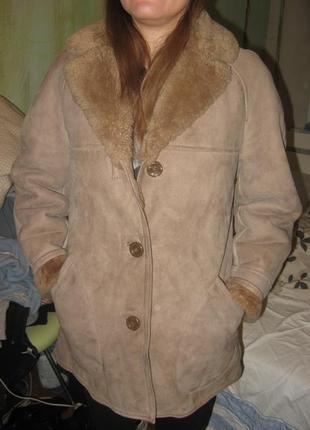 Дубленка женская куртка натуральная кожа замша и мех овцы