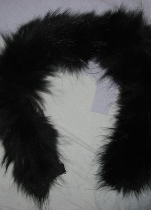 Мех для капюшона куртки парки пуховка натуральный писец черный...