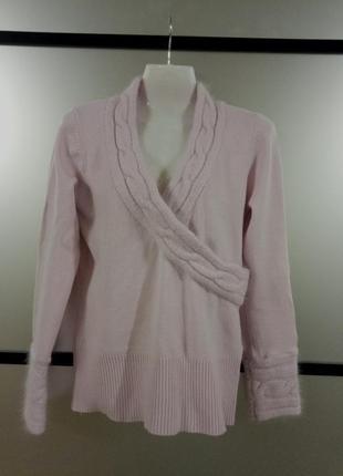 Шерстяной розовый пудровый свитер джемпер с ангоровыми вставоч...