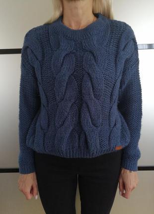 Синий тёплый вязаный свитер оверсайз. свитер укороченый грубая...