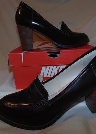 Кожаные туфли лоферы на среднем каблуке boden оригинал