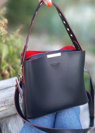 Женская сумка-шоппер чёрная с красным