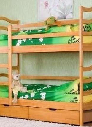 Двухъярусная кровать София с ящиками и матрасами.