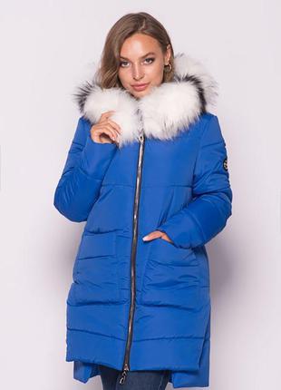 Молодежная зимняя удлиненная женская куртка