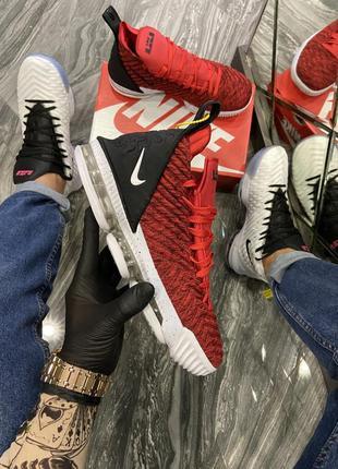 Красивые мужские кроссовки красные nike lebron 15 red white