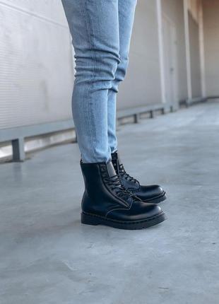 Меховые ботинки dr martens черный цвет кожаные (36-44)💜