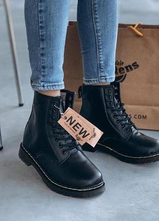 Меховые ботинки dr martens черного цвета кожаные (36-44)💜