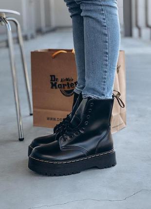 Ботинки dr martens на платформе демисезонные черные кожа (36-40)💜