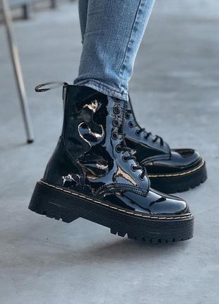 Зимние ботинки dr martens меховые на платформе лак кожа (36-40)💜
