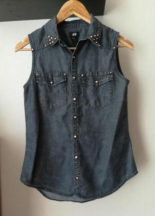 Классная джинсовая блуза, рубашка с заклепками, h&m