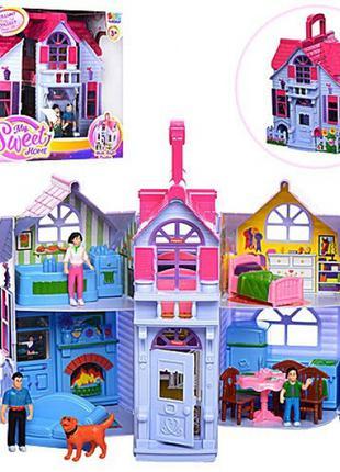 Складной домик для кукол F 611, с фигурками, мебель