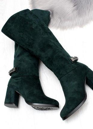 Элегантные замшевые высокие женские сапоги на удобном каблуке ...