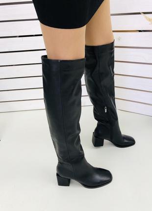 Женские сапоги кожаные ботфорты