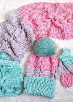 Мятно-розовый набор на девочку 5-8 лет