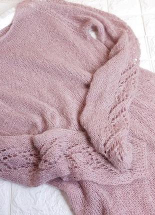 """Шикарный свитер """"пудра"""" с ажурными рукавами. премиум качество"""