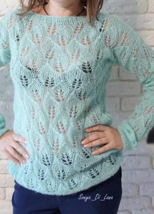 Ажурный свитер из пряжи качества премиум