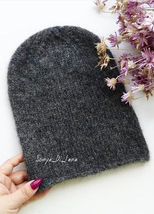 Крутая шапка из альпаки. пряжа люкс