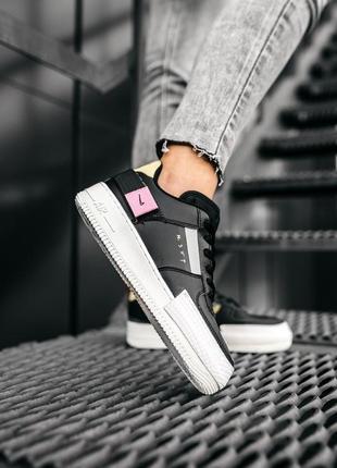 Nike air force 1 low black шикарные женские кожаные кроссовки 😍