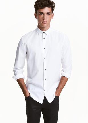 Белая рубашка h&m из смесового лиоцелла !