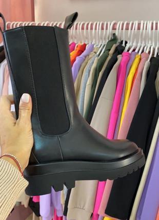 Массивные чёрные ботинки челси. сапоги боты гриндерсы на платф...