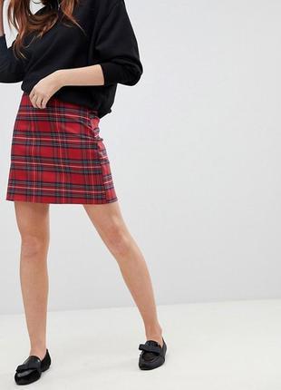 Красная юбка в клетку на высокой талии new look