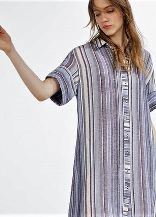 Стильная cвободная натуральная рубашка-платье-туника в полоску...