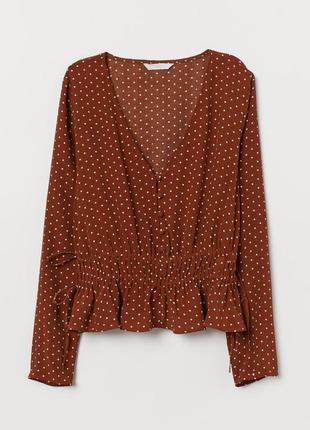 Актуальная блузка в горошек  натуральная ткань блузка h&m