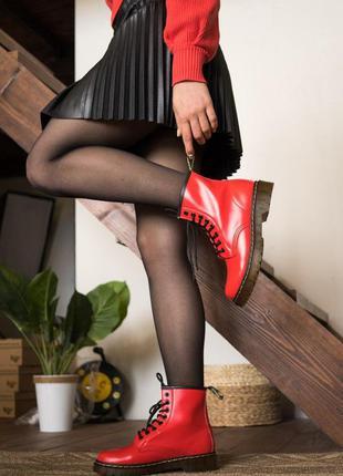Осенние женские сапоги 👢 ботинки dr.martens  👢  сапоги красног...