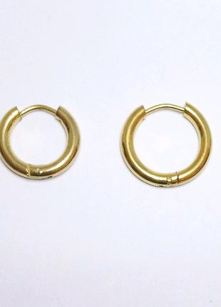 Серьги-кольца золотистые