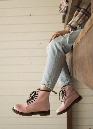 Осенние женские сапоги 👢 ботинки dr.martens  👢  сапоги розовог...