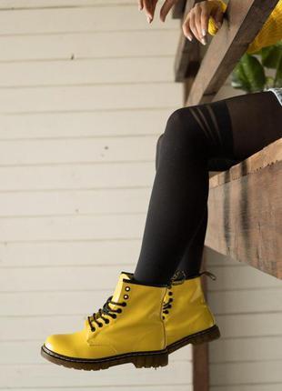 Осенние женские сапоги 👢 ботинки dr.martens  👢  сапоги желтого...