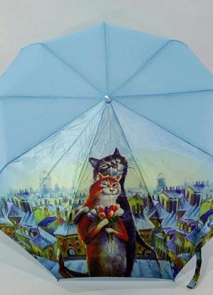 Шикарный зонт-полуавтомат коты на крыше