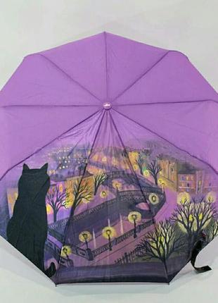 Качественный зонт-полуавтомат кот на крыше